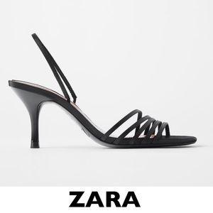 ZARA Black Slingback Open Toe Heel EUR 38 / US 7.5